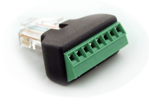 Adapter, RJ45 (8P8C) male to 8-position terminal strip
